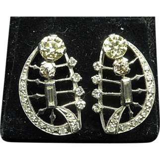 Deco Diamond Platinum Earrings