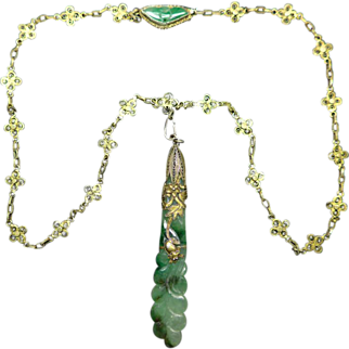 Antique Chinese Jade Silver Gilt Necklace
