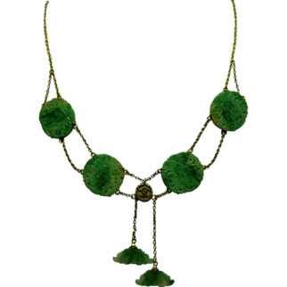 Antique Jade 14K Necklace