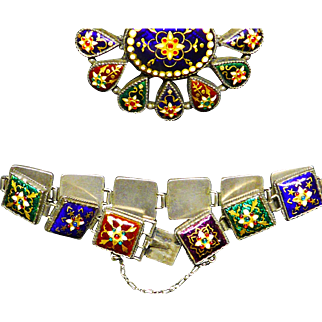 French Bressan enamel brooch and bracelet, 19th century