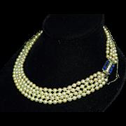 Art Deco Pearls - Platinum diamond sapphire clasp