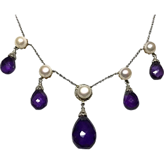 Amethyst, pearl, rose diamond necklace, platinum, 18k (replaced clasp 14k)