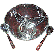 Large serving bowl on sterling base with accompanying glass spoons for formal setting- It has three sections!
