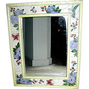 Mirror: Shabby chic distressed white mirror, mosaic border