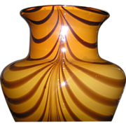Cased glass flower vase in butterscotch for floral arrangements