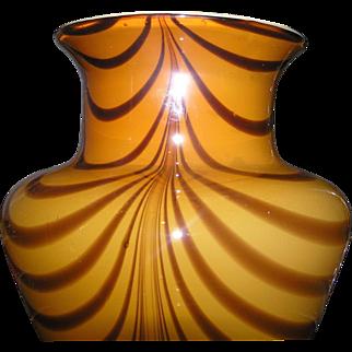 Cased glass flower vase in butterscotch for floral arrangements