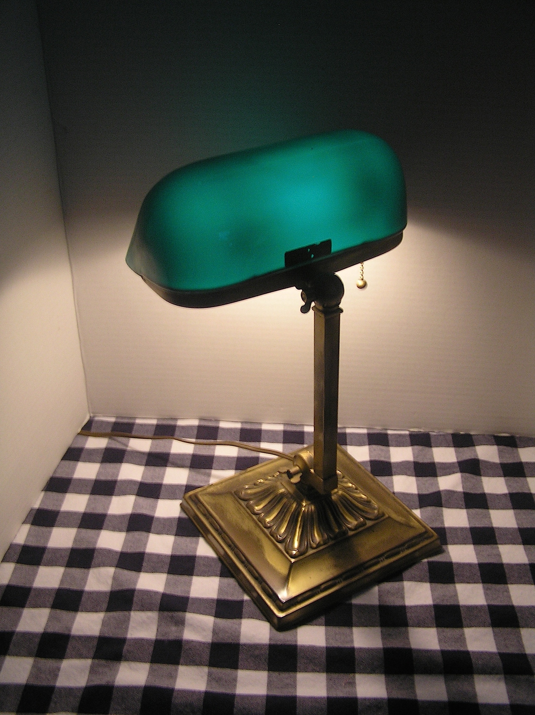 Emeralite Banker\u0027s Lamp, all original, stamped brass plated base ...