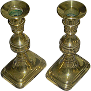 Antique Pair of brass Candlesticks, Push-ups, Early 19th c. Beautiful! - Red Tag Sale Item