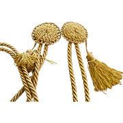 Textiles, Pair of Tie backs, Swags, Tassels, rich gold, 4 feet