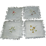 Embroidered coasters of wild flowers, set of 4, ecru