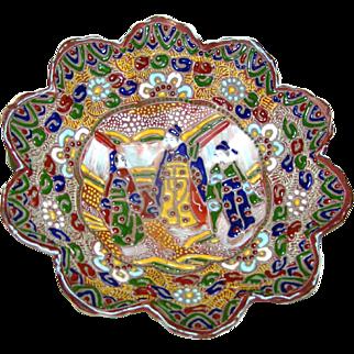Vintage oriental bowl, moriage, porcelain, decorated, hand painted!