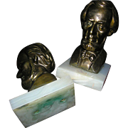 Bookends: Lincoln Spelter metal on alabaster, 20th c.