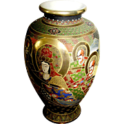 Huge Vintage Satsuma vase, gold halos around ahrats, hand painted moriage, signed.