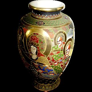 Satsuma oriental vase-Vintage period So tall it is Rare