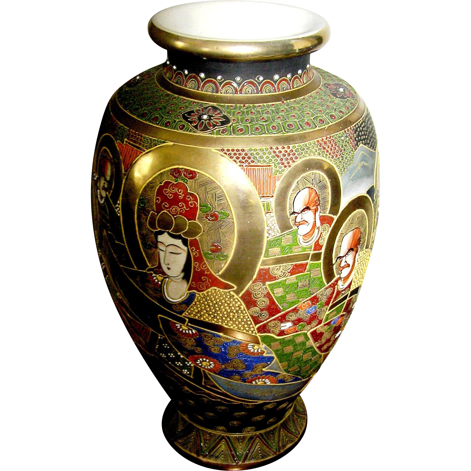 Huge Vintage Satsuma Vase Gold Halos Around Ahrats Hand Painted From Eddy On Ruby Lane