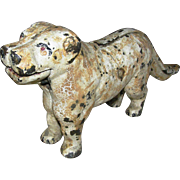 Antique, nut cracker, primitive, cast iron dog, crazed rustic, surface, white