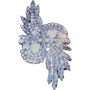 """Rhinestone brooch- brilliant eye catcher over 3"""" x 1.5"""" inlaid with perfect, multi-sized stones!"""