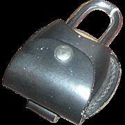 """Lock, bike- heavy duty Barjan, 4"""" x 2.5"""" with leather case"""