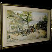 "Vintage Print ""A Chance Passenger"", photogravure print of a Mail Coach by Joseph C. Claghorn."