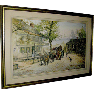 Print 'A Chance Passenger',late 19th or early 20th c. Signed M. Clanhorn