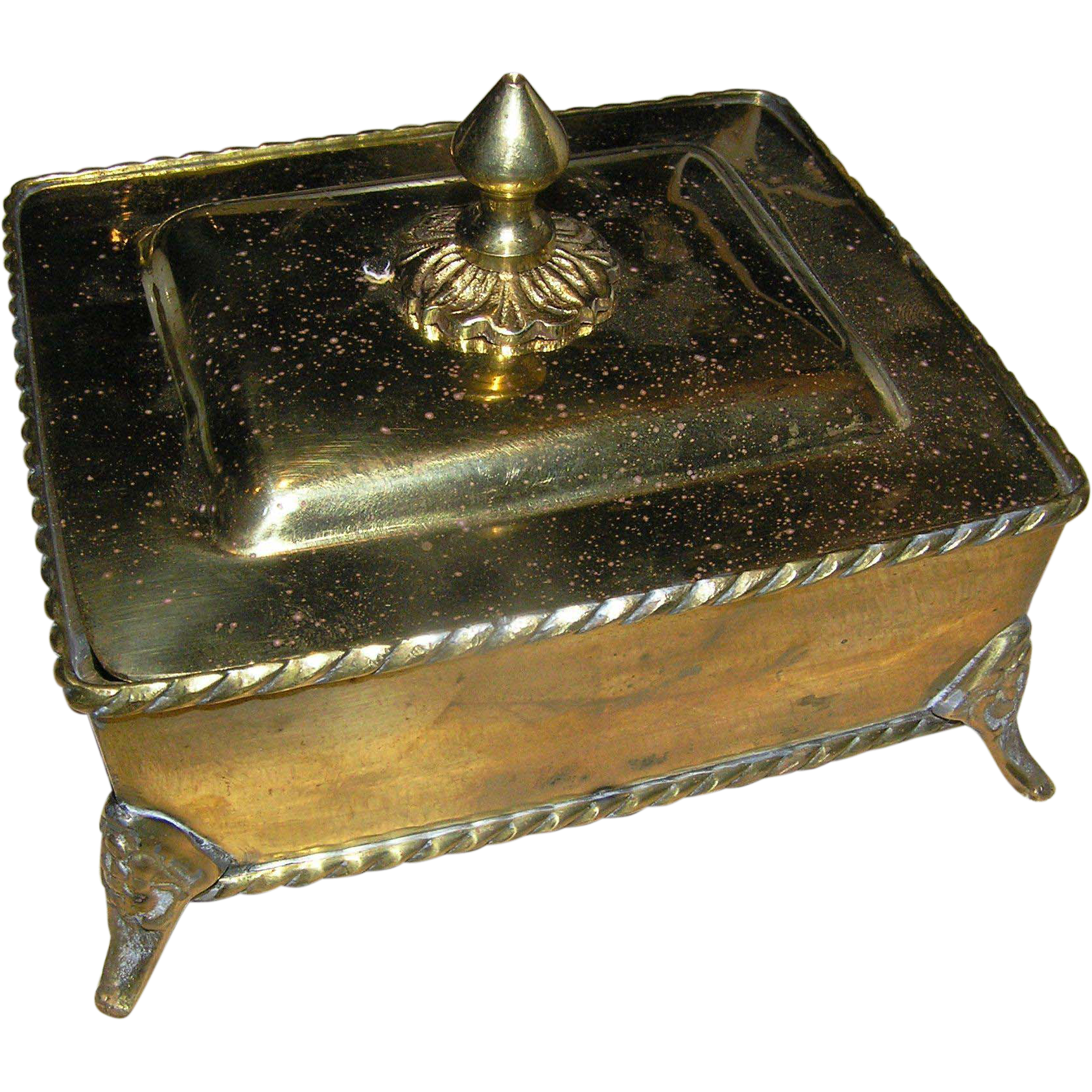 Vintage solid brass box from india late 20th c with the for Decorative crafts inc brass