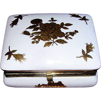 Vintage Porcelain Box marked with crossed arrows, mid 20th Century