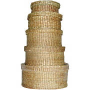 Vintage set of stacking baskets made of real fibers.