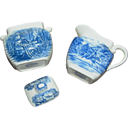Vintage creamer and surgar, Liberty Blue Staffordshire, Betsy Ross and Paul Revere, exc.