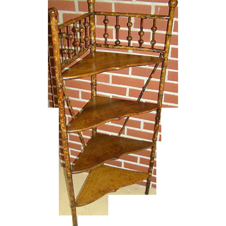 Original Bamboo corner shelf with three shelves from late 19th century
