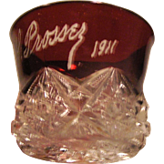 Vintage Ruby Flashed Red cup signed PL Prossey and dated 1911