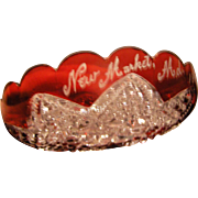 Ruby flashed vintage dish marked New Market MD 1890. VG!