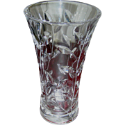 Vintage Cut Glass vase,  clear heavy leaded crystal