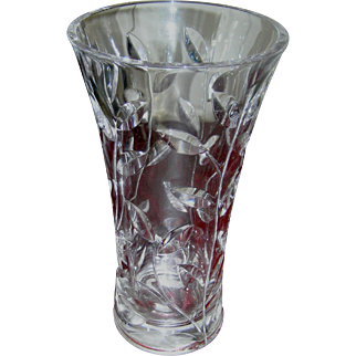 Cut Glass vase for long stemmed flowers, Crystal clear heavy lead!