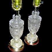 Vintage pair of lead crystal lamps, working, 20th c.