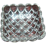 Lead Crystal Square Dish, with a motif of little squares, excellent condition.