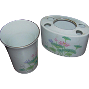 Toothpaste holder and matching cup in a Lotus patter, made in Japan