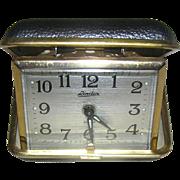 Clock, Linden travel alarm, vintage, leather