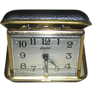 Clock, travel alarm, vintage, leather case, marked Linden and Japan