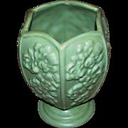 Haeger Vase:six panels:floral motif:pale green:excellent