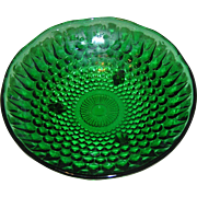 Green Depression Glass Dish with hobnails measuring 6.5 inches in circumference.