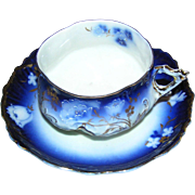 Brilliant Cup and Saucer:Bavarian:marked:hand accents of gold