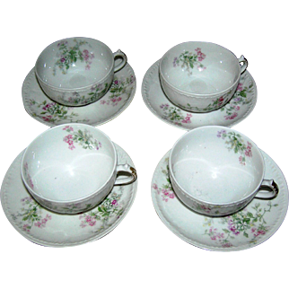 Vintage Limoges cups and saucers, set of 4, signed