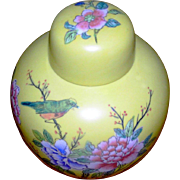 Vintage Ginger Jar, yellow, Hong Kong, signed