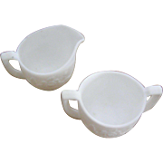 Vintage Imperial creamer & sugar signed opaque white