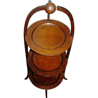 Vintage cake stand in mahogany, all original, mid 20th c.