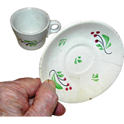 Ironstone cup and saucer, hand painted, very early