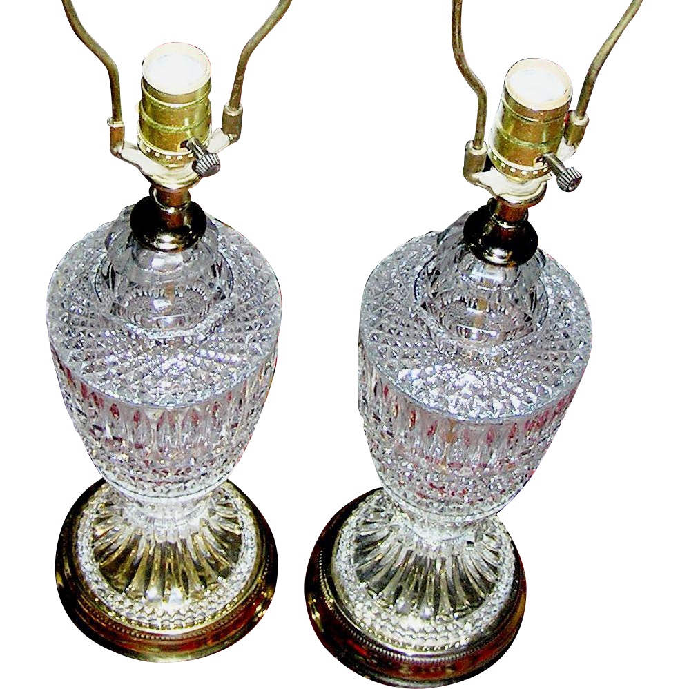 Antique Crystal Table Lamps Pair From Eddy On Ruby Lane