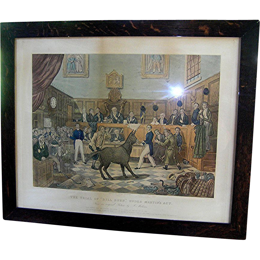 19th century print of the Trial  of Bill Burn of 1838 and animal rights