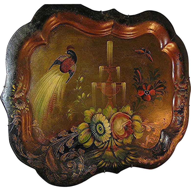 Metalware:Tole painted tray, Chippendale style, France, peacock & fountain, 19th c