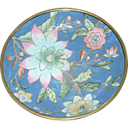 Chinese oriental emamel on porcelain plate encased in brass